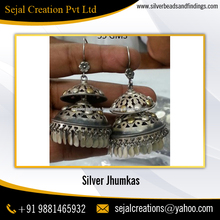 Oxidized Plain Silver 925 Sterling Silver Earring, Jaipur Jhumka, Silver Jhumka