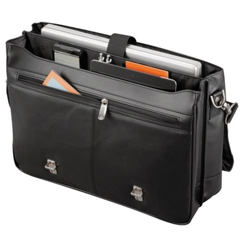 Business Travel Briefcase Genuine Leather Bags for Men Laptop Bag Black