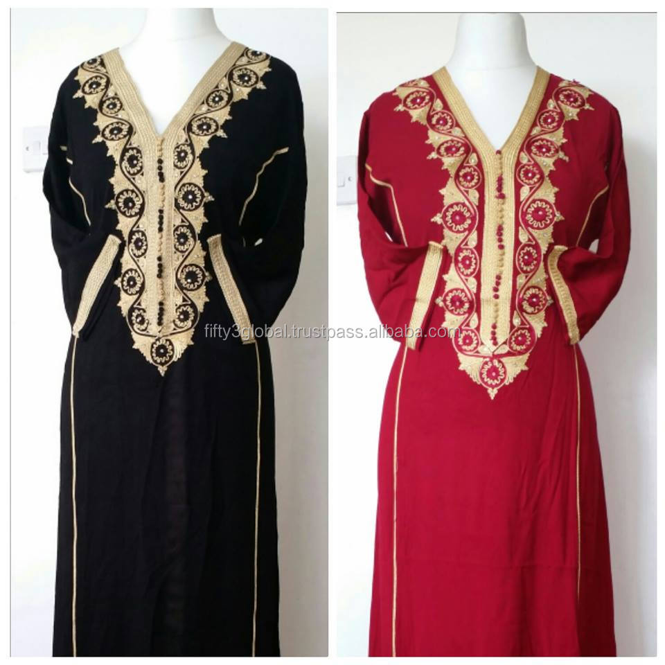 New Dubai Moroccan Kaftan/Caftan In Various Colors Hand Embroidered Muslim Farsha, Abaya, Jalabiya