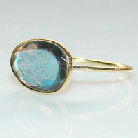 Sterling Silver Labradorite bezel setting thin stacking ring for women