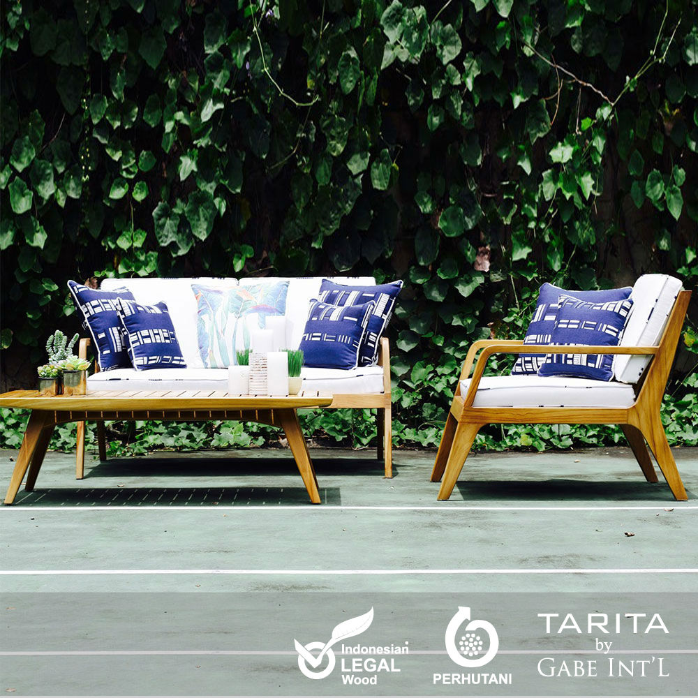 Solid teak wood and slatted seat and back lounge chair inspired by modern fifties style ideal for outdoor and patio use