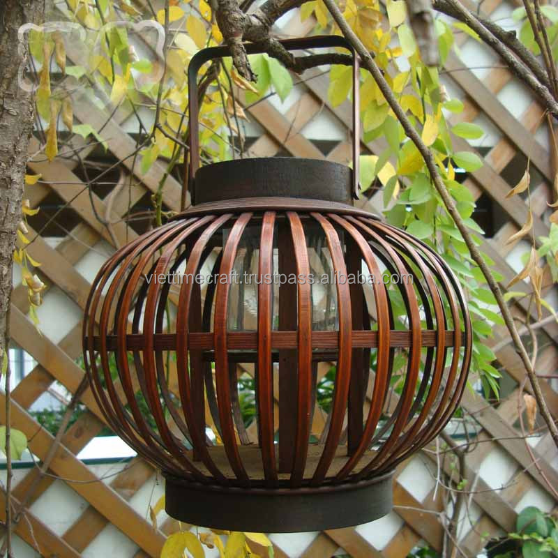 Vietnam traditional wholesale bamboo lantern with candle holder glass inside