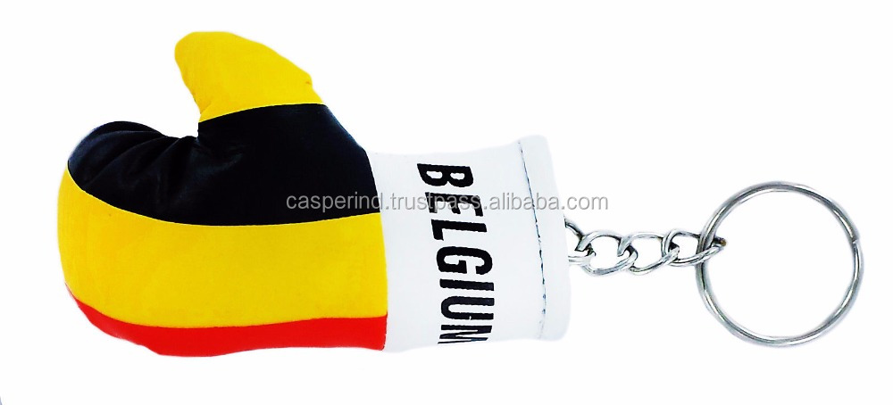 Custom Belgium flag hot selling multi functional beautiful keychain mini car hanging gloves
