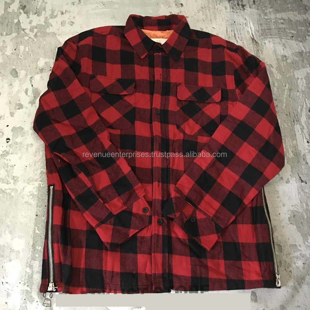 Flannel shirt with side zippers/Casual stylish flannel shirt with side zippers