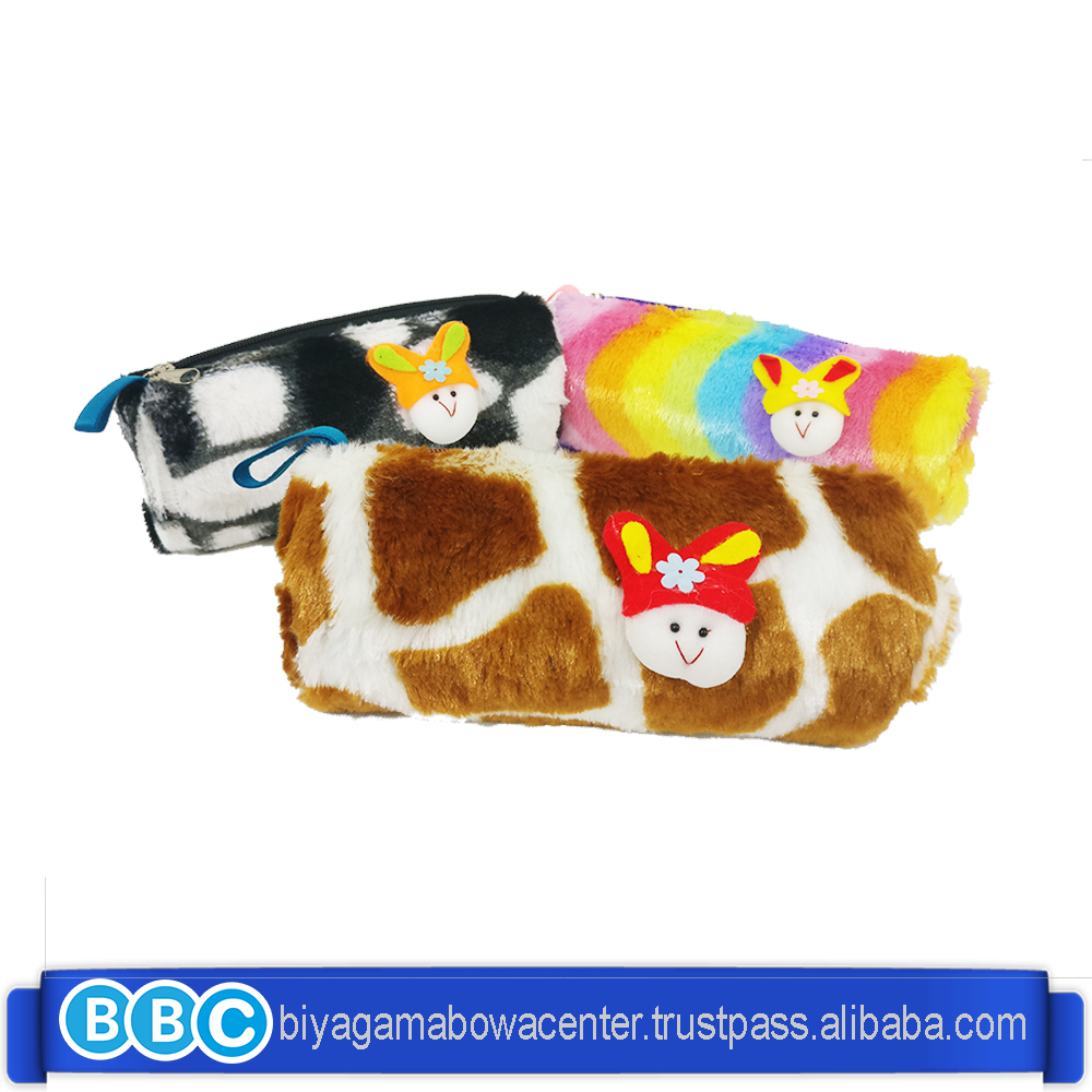 hot sale High Quality Fashion Plush Faux Fur Stationary Pencil case for student