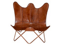 Tan Brown Leather Double Butterfly Chair