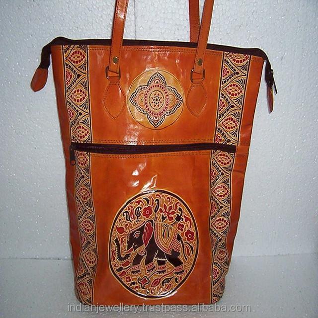 Designer pure leather tote handbags for ladies manufacturer, original Goat leather womens bags exporter