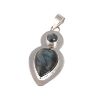 Believe charming pear labradorite gemstone 925 sterling silver pendant wholesale fashion silver jewelry