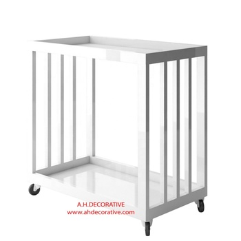 White Modern Accent Bar Trolley