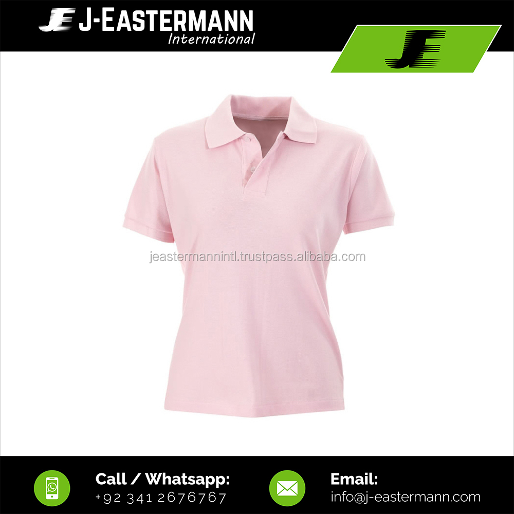 Blank Half Sleeve Ladies Pink Polo Shirt, Customized Logo Short Sleeve Pink Polo Shirts For Women