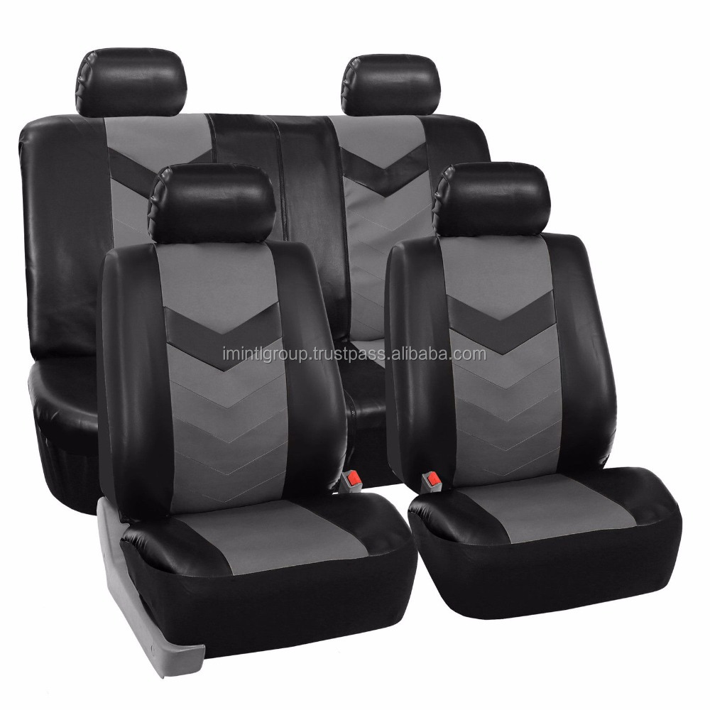 High quality leather for car, trucks, Black Gray Leather Car Seat cover IM.3286