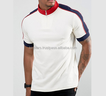 Zip up Neck Polo Shirt with Contrast Rib For Men Fashion 2018