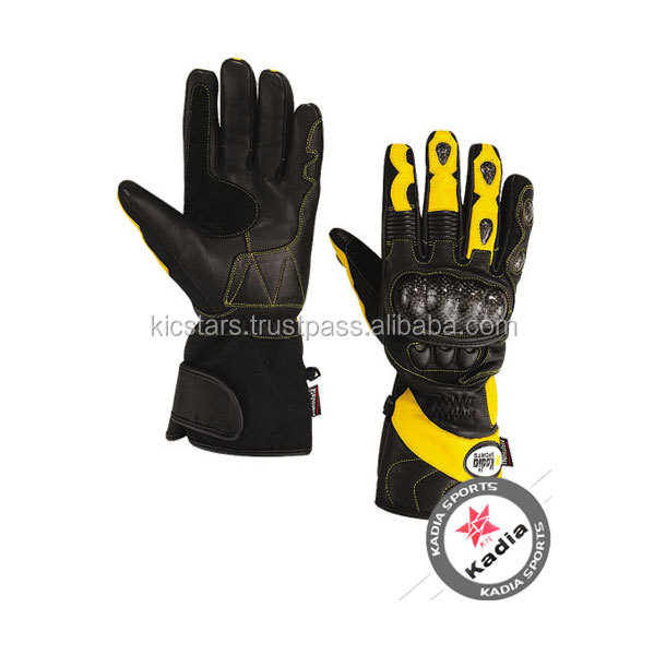 Yellow and black bike racing leather gloves used for motorcycle riding