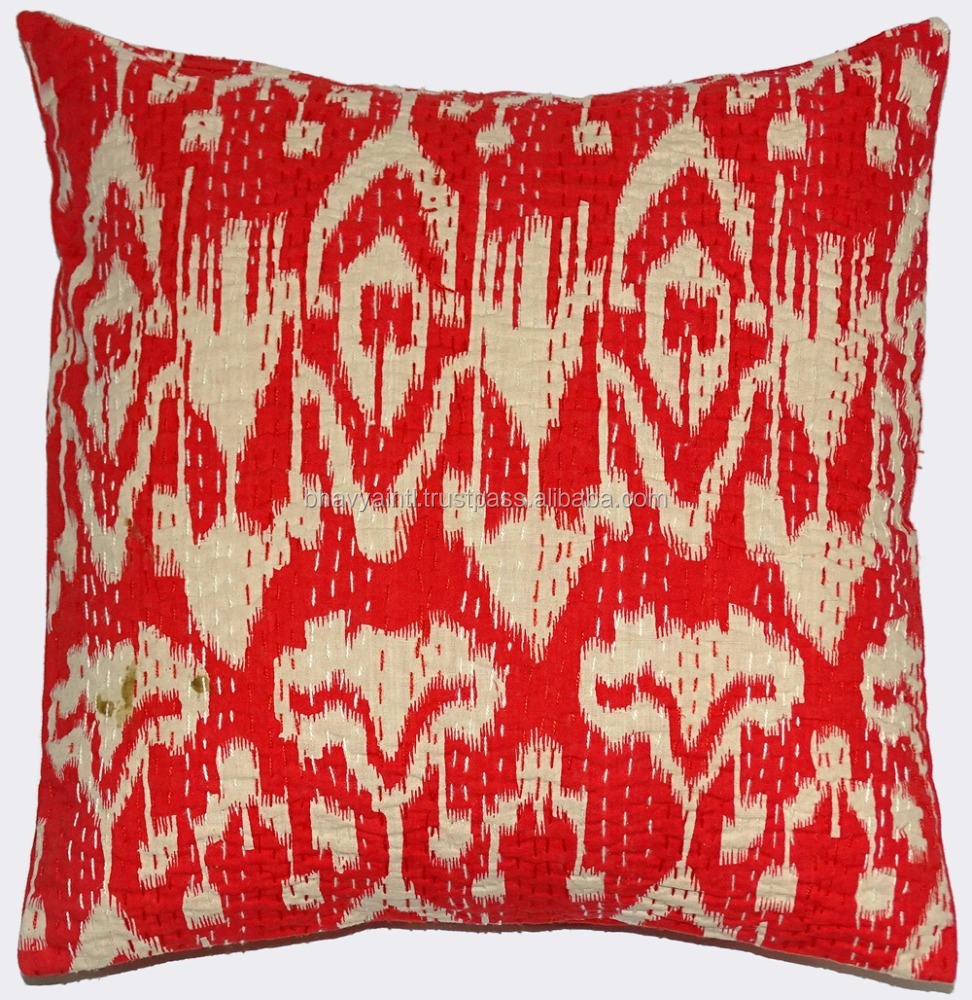 INDIAN 100 % COTTON HAND MADE PAISLEY CUSHION COVER KANTHA WORK FLORAL ETHNIC THROW DECOR