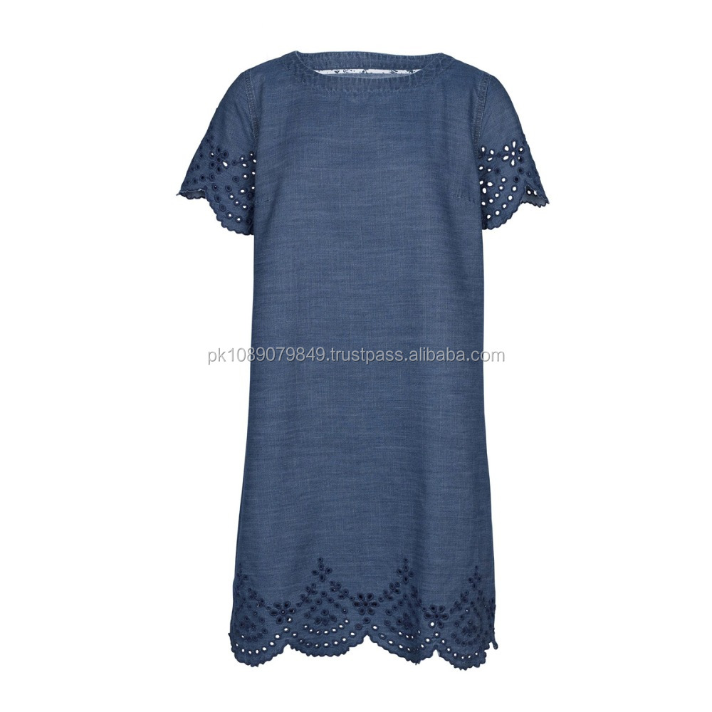 Blue Embroidered Cutwork Dress
