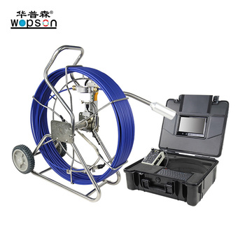 Underground sewer line locator with video camera and meter counter