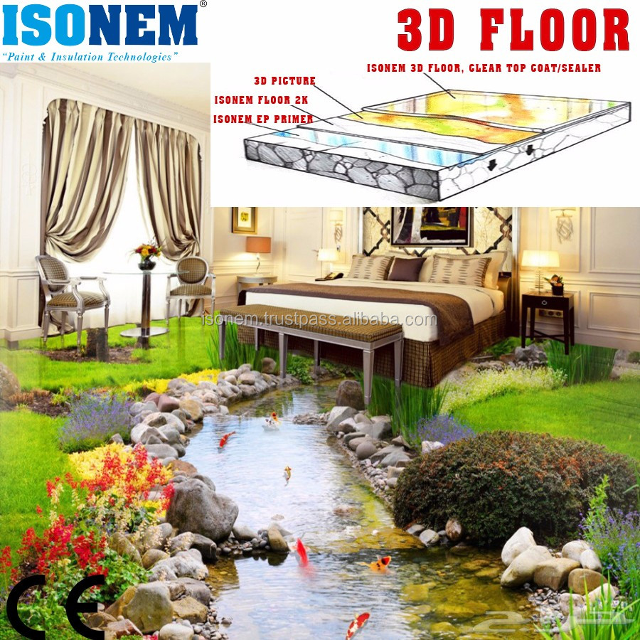 3D FLOOR, EPOXY FLOOR, PRIMER, MIDDLE LAYER AND 3D GRAPHIC