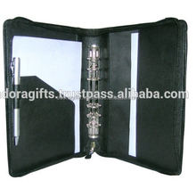 Hot Selling Custom A4 Zipped Leather Portfolio 6 Ring Binder Folder Organizer With Pen Loop