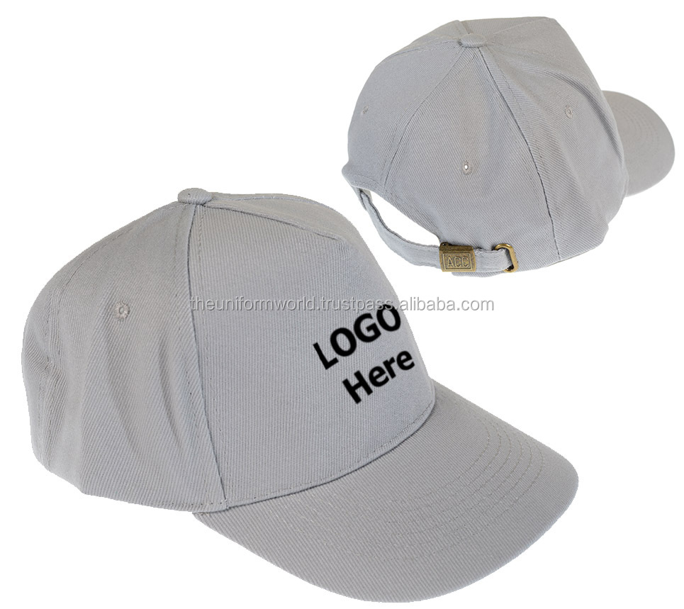 Cotton Twill Cotton Baseball Caps Hats Plain Blank Light Grey with Buckle