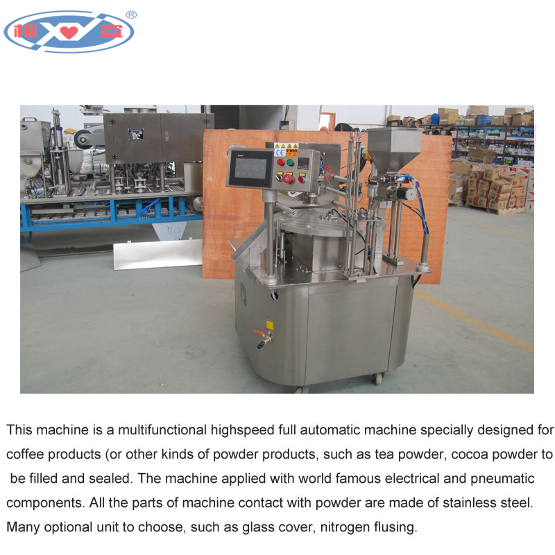 Rotary coffee capsule k cup filling and sealing producer with CE approved.