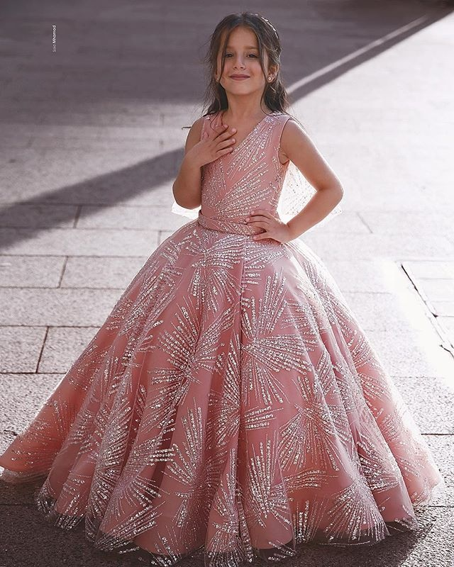 2019 New Gorgeous Pink Flower Girl Dresses For Wedding Party Princess  Children Party Pageant Gowns , Buy Flower Girl Dresses,Girls Pageant