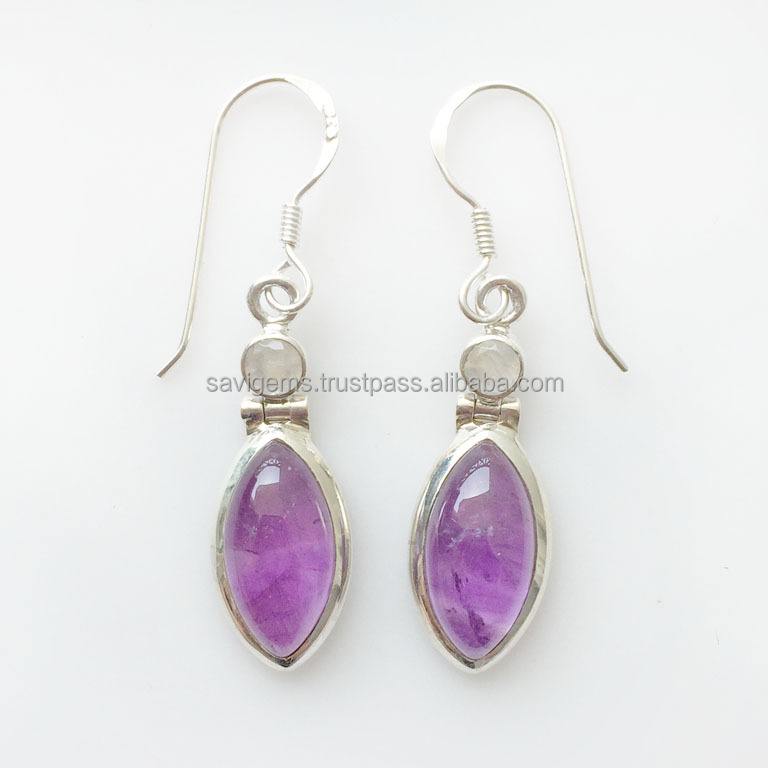 925 STERLING SILVER RAINBOW MOONSTONE AMETHYST SILVER WHOLESALE EARRING HANDMADE JEWELRY