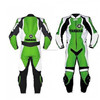 New Handmade Motorbike Racing Green Black Leather Suit For Men's