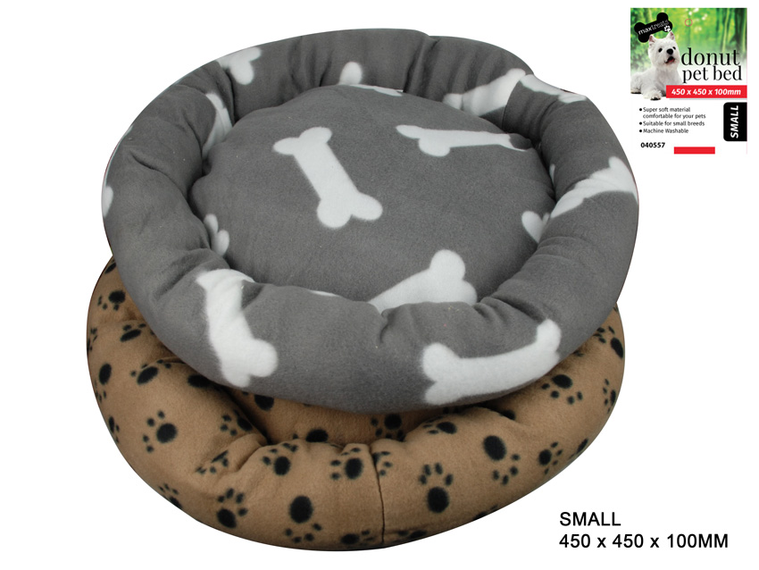 Donut Pet Bed Paw Prints Small 400g
