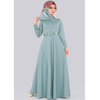 Front Buttoned & Belted Dress - Mint Modern Islamic Clothing Made in Turkey