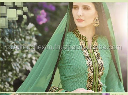 semi-stitched designer salwar kameez Green Georgette Brasso Embroiderd semi-stitched Dress Material Designer Salwar Suit