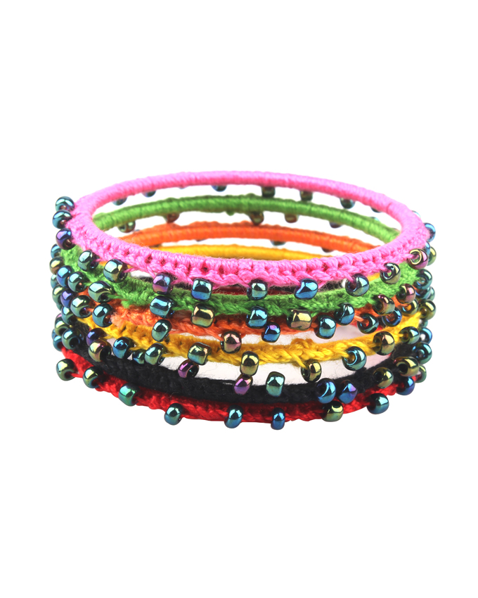 Set of 6 - Multicolor Handmade Crochet Bangles for Women