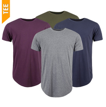 Curved Hem Short Sleeve Mens Curved Bottom Round Neck Cotton T-Shirt Plain With Custom Printing