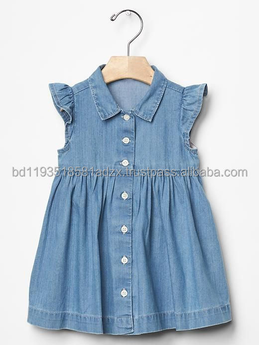 New Summer Baby Girl denim dress with frill sleeve