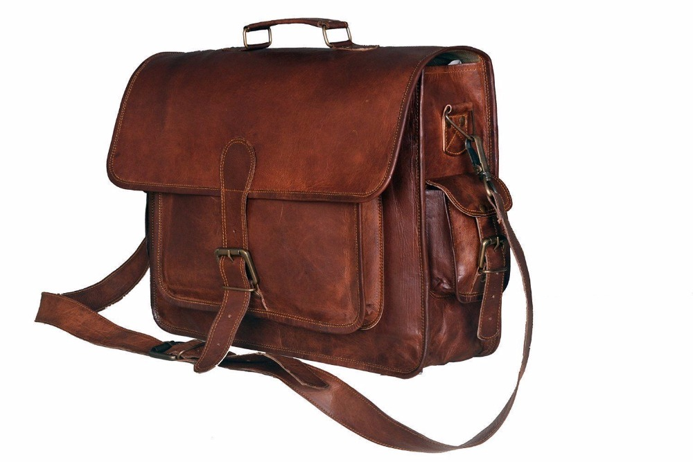 Indian Hand Made Brown Color Unique Stylish Executive Office 3 Pocket Genuine Leather Laptop Bag Le 399
