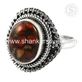Red copper turquoise gemstone ring handmade india 925 sterling silver rings jewelry wholesaler