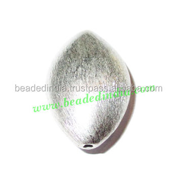 Silver Plated Brushed Beads, size: 30x19.5x13mm, weight: 7.87 grams. BMSPBR005