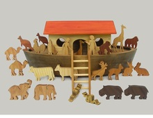 Wooden Noah's Ark Handmade Waldorf Toy for Children Boys and Girls Gift for Babtisms Barmitswa Montessori Biblical Story