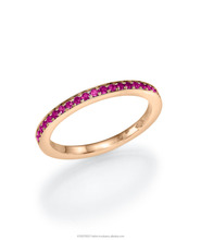 18K Gold Eternity Ring set with19 Ruby Gemstone of 0.20ct, set in channel setting technique.