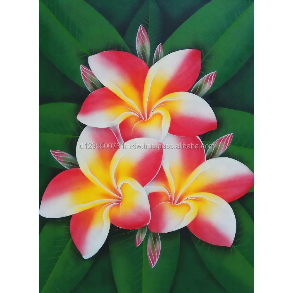 Wholesale Price High Quality Handmade Canvas Modern Frangipani Flower Painting Wall Art
