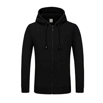 wholesale custom Fashion Mens Full Zip Hoodie Plain Dyed Slim Fit Mens Long Sleeve Hoodie