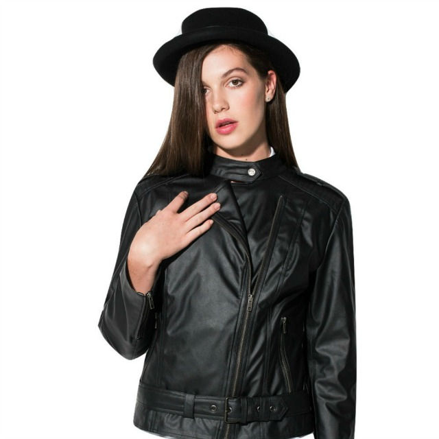 Womens Vegan Leather Biker Jacket 'Emma'
