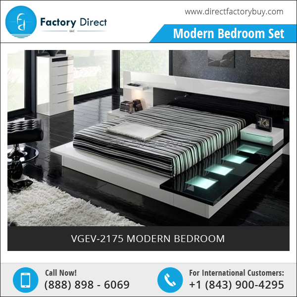 VGEV-2175 Modern Bed with Contemporary Straight Lines