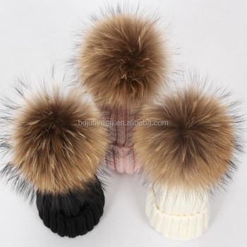 different colors knit beanie hat with real fur or faux fur poms