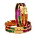 Gold Plated Matel Alloy Wedding Collection Glass Stone Bangles Size: 2.10