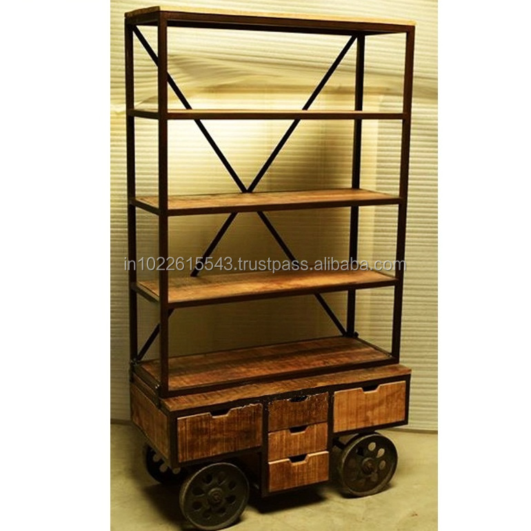 industrial bookshelf with wheels, Reclaimed wood bookshelf with drawer on wheels