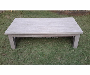 Teak coffee Table Modern Outdoor Furniture Rustic Weathered Gray