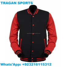 Black & Red ALL Cotton Varsity Jacket Baseball Leather Jacket Wool Leather Varsity Letterman Jacket