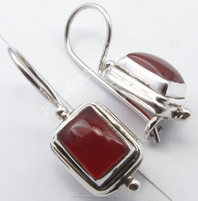 "925 Silver RED FIRE CABOCHON CARNELIAN Fix Wire Earrings 1"" BIRTHDAY GIFT Wedding Mumbai Jewelers Wholesalers"