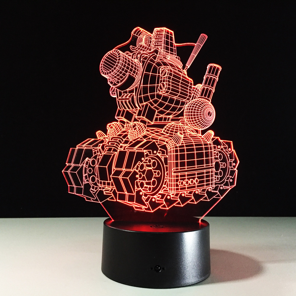 Creative desk 3D illusion LED Night Lights 7 colors Cartoon Tank Design Atmosphere Lamp