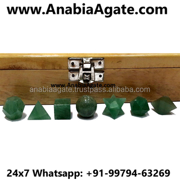 Green Aventurine 7 pcs Sacred Geometry Set With Wooden Box : Wholesale Platonic Solid Crystal